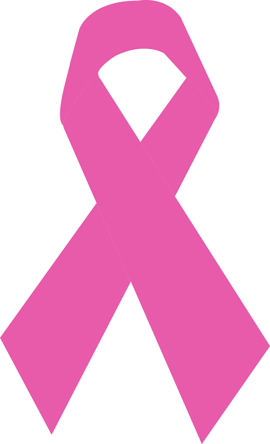Laço rosa em fita, câncer mama.