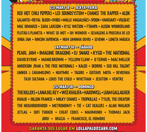 poster Line-Up Lollapalooza 2018 (por dia).