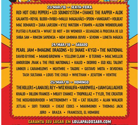 poster Line-Up Lollapalooza 2018 (por dia).