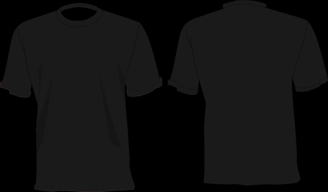 Camisa Preta desenho, frente e verso.